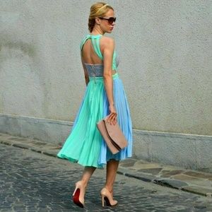 Dresses & Skirts - Pleated Color Block Green Blue Dress